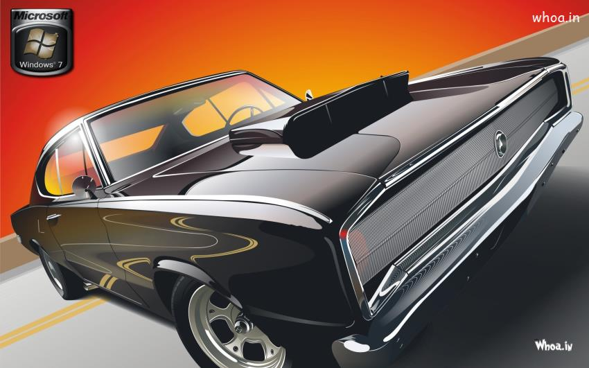 High Resolution Muscle Car Wallpapers Microsoft Windows 7 Desktop Wallpaper With Black Car