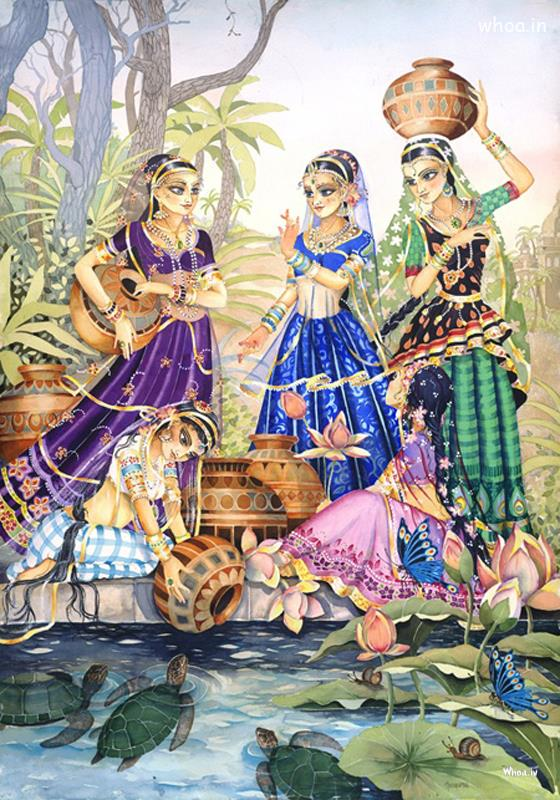 Baby Krishna Wallpaper 3d Radha And Gopis Filling Water