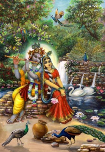God Ganesh Hd 3d Wallpaper Radha And Krishna Sitting Between Birds