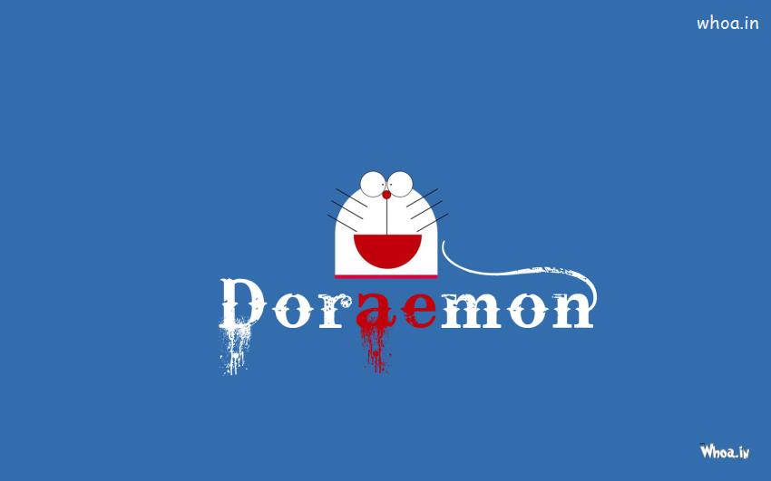 Cute Cartoon Desktop Wallpapers Doraemon Face With Blue Background Hd Wallpaper