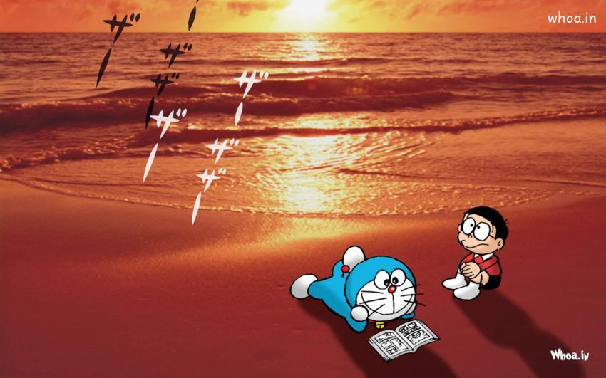 Sai Baba Hd 3d Wallpaper Download Doraemon Reading Book With Nice Sunset Wallpaper