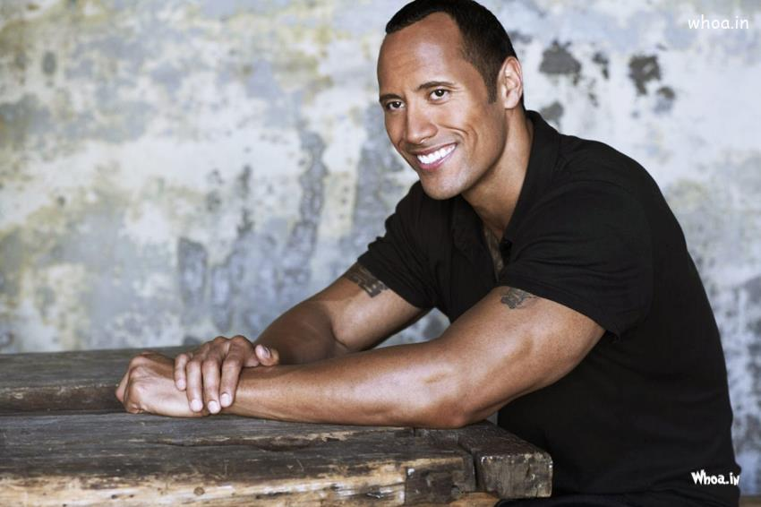 Romantic Good Morning Wallpaper With Quotes Dwayne Johnson Body With Smiley Face Closeup Wallpaper