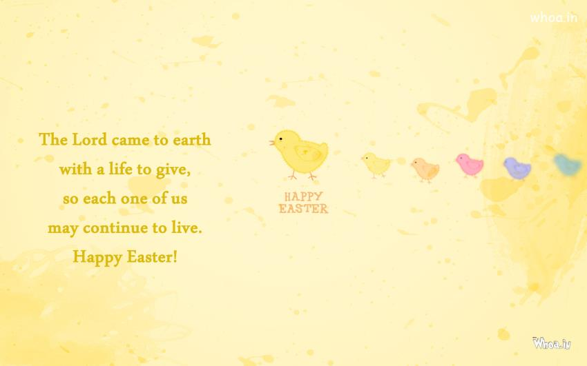 Easter Greetings In Yellow Background And Quote Wallpaper