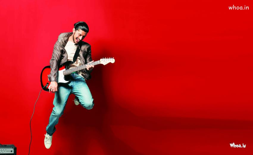Salman Khan Full Hd Wallpaper Farhan Akhtar Playing Guitar With Red Background Hd Wallpaper