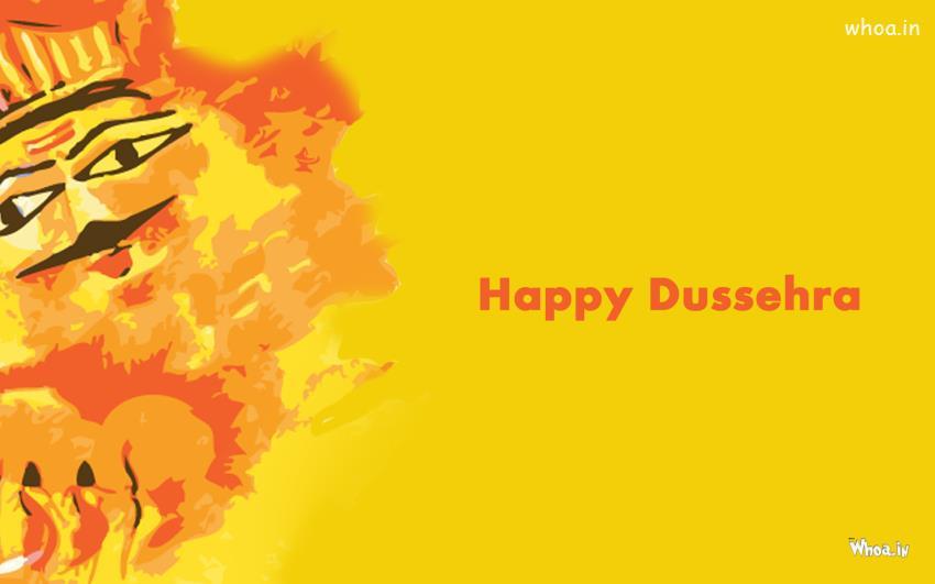 Ravan 3d Wallpaper Happy Dussehra Lord Ram And Ravan With Yellow Background