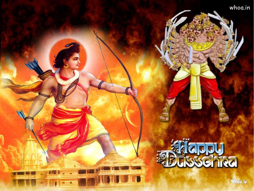 Shiva Animated Wallpaper Hd Happy Dussehra With Lord Ram And Ravan With Fire