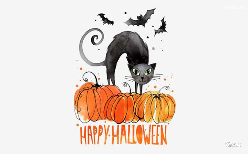 Balaji 3d Wallpaper Happy Halloween With Black Cat And Clipart Hd Wallpaper