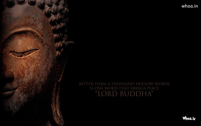 Radhe Krishna Wallpaper With Quotes Lord Buddha Face Closeup And Quote With Dark Background