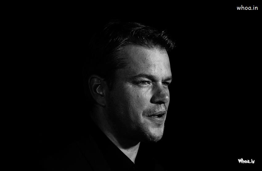 Radhe Krishna Wallpaper With Quotes Matt Damon Face Focus With Dark Background