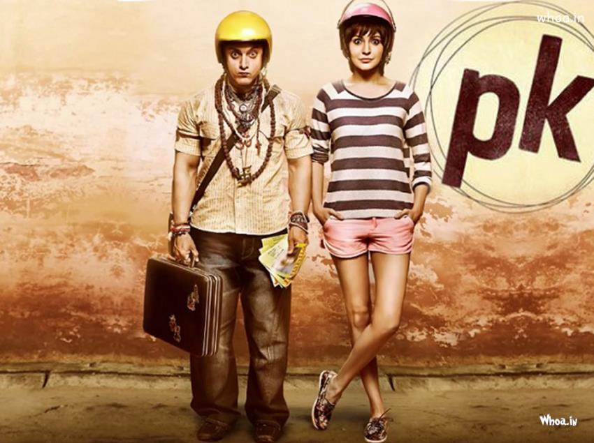 Cute Cartoon Birthday Wallpaper Pk Move Poster With Anushka Sharma And Aamir Khan With Helmet
