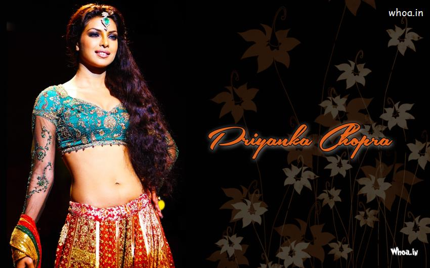 Priyanka Chopra 3d Wallpaper Priyanka Chopra Hot In Traditional Dress With Black Background