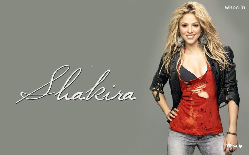 Vishnu 3d Wallpaper Shakira Wallpaper Wearing Black Jacket And Grey Jeans