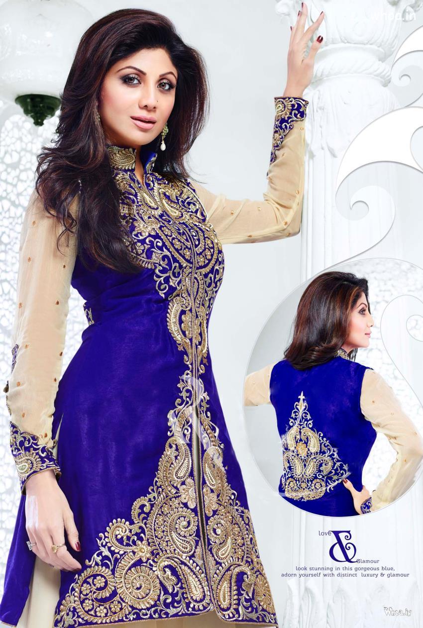 Cute Fat Baby Wallpapers Shilpa Shetty Blue Traditional Dress Hd Wallpaper