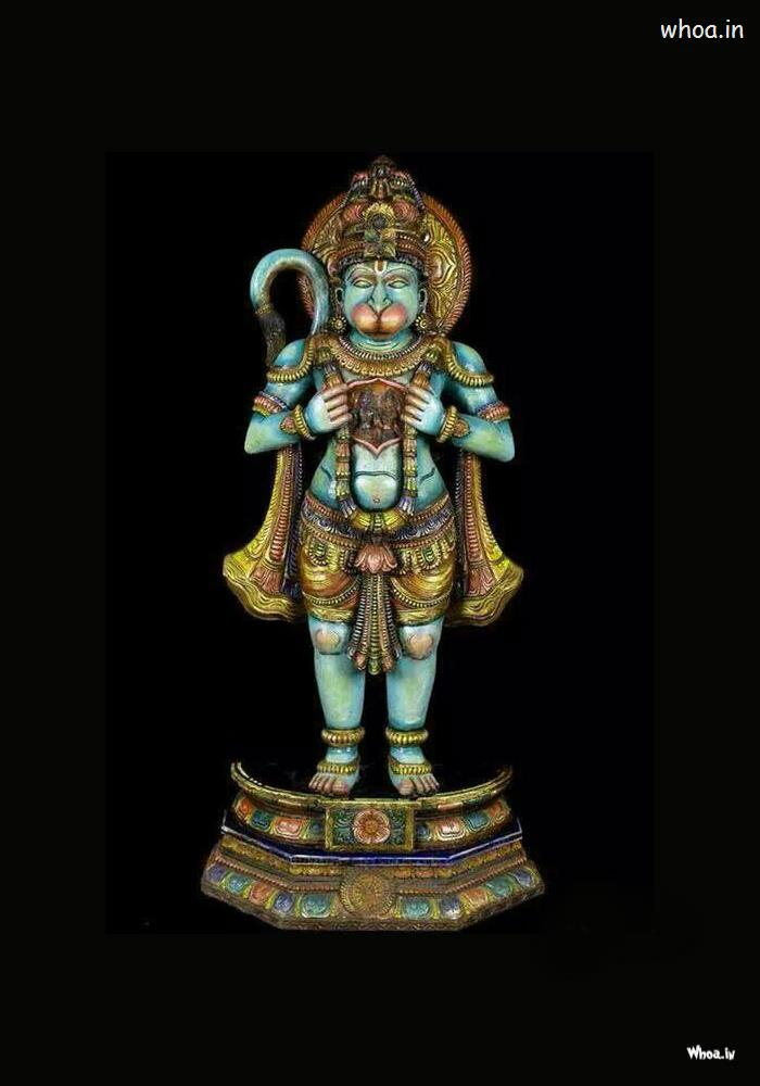3d Wallpapers Lord Krishna Radha Standing Colorful Hanuman Statue With Dark Background Hd