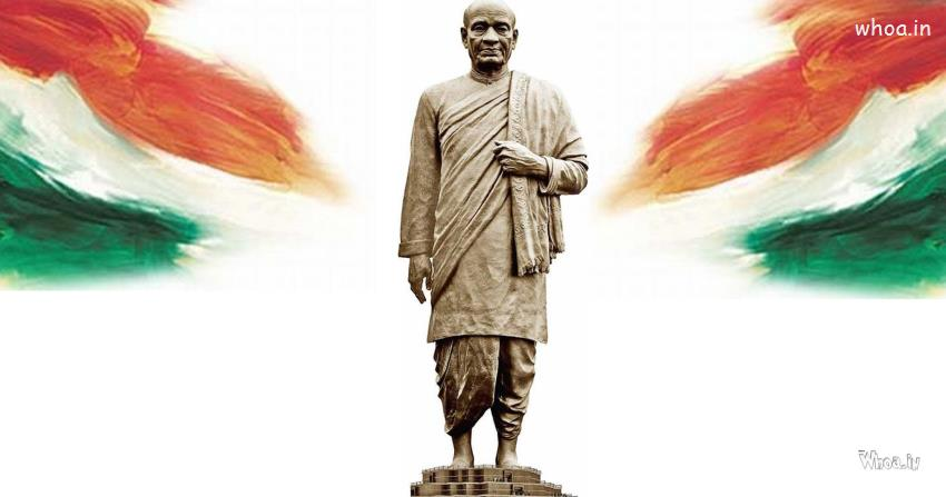 India Wallpaper 3d Statue Of Unity With National Flag Hd Wallpaper