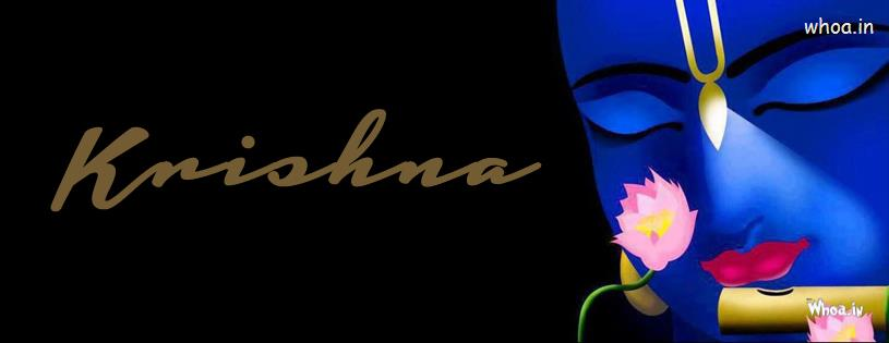 Krishna Playing Flute Dark Background FB Cover