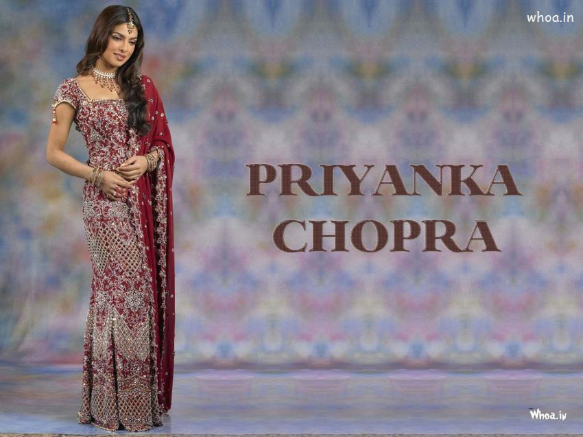 Indian Independence Day 3d Wallpapers Bollywood Actress Priyanka Chopra In Dulhan Dress Hd Wallpaper