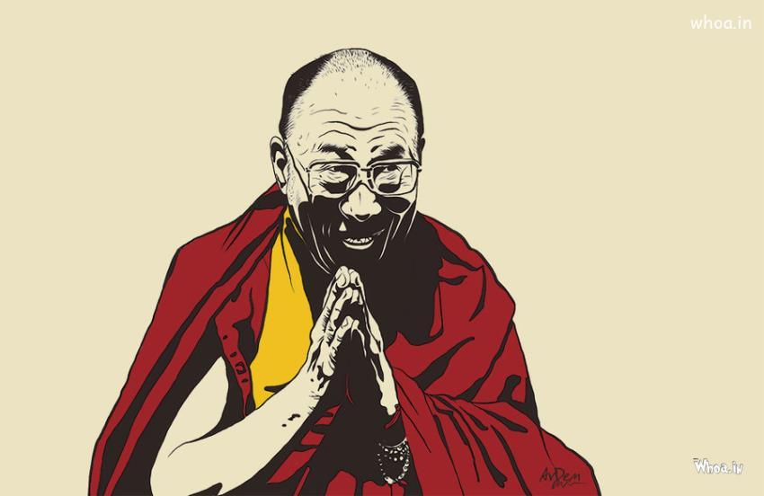 3d God Krishna Wallpaper Download Dalai Lama Cartoon Painting Hd Wallpaper