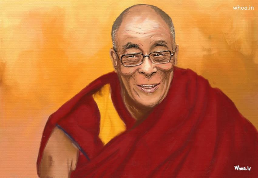 Good Morning Cute Baby Hd Wallpaper Dalai Lama Hand Painting With Yellow Background Hd Wallpaper