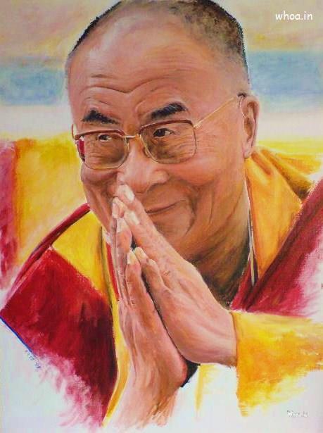 God Krishna Wallpaper 3d Hd Dalai Lama Multi Color Painting Hd Wallpaper