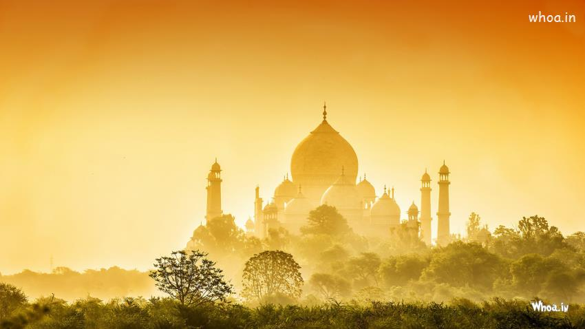 Golden Taj Mahal With Natural Background HD Wallpaper