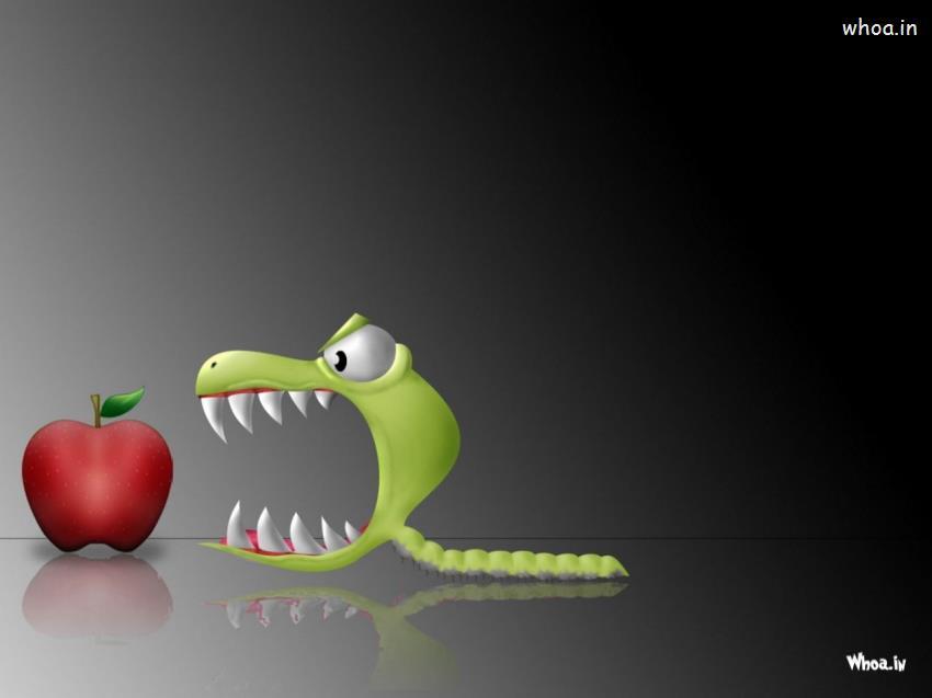 Ganesh Wallpaper Hd 3d Green Bug Eat Red Apple Lunch Time Hd Cartoon Funny Wallpaper
