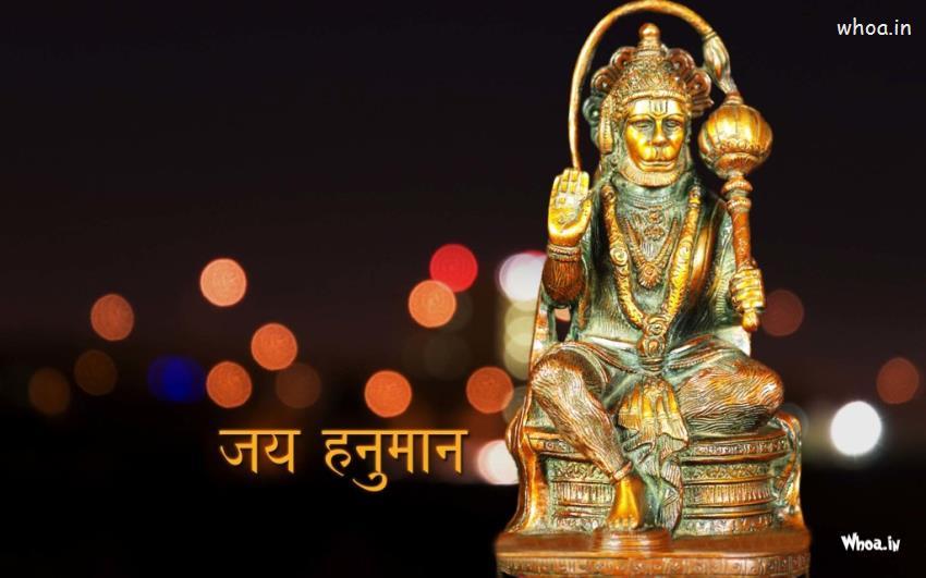 Radhe Krishna Wallpaper With Quotes Lord Hanuman Statue With Dark Background Hd Wallpaper