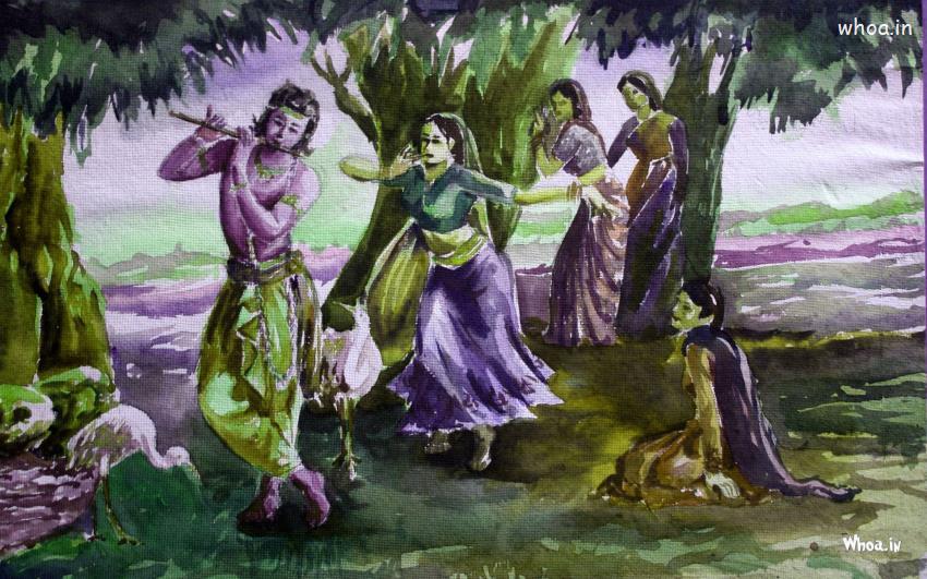 Lord Krishna Animated Wallpapers Hd Lord Krishna Rass Leela Hand Painting Hd Wallpaper