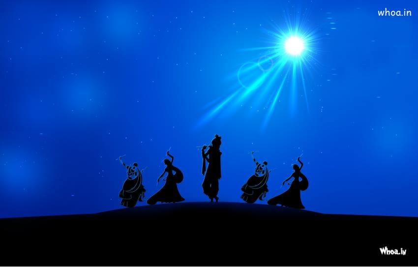 Shivaji Wallpaper 3d Lord Krishna Rass Leela In Night With Blue Background Hd