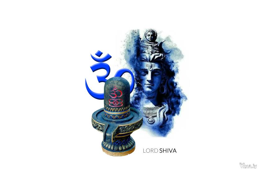 Shiva Lingam Hd Wallpapers Lord Shiva Blue Face And Om With Shivling Hd Wallpaper