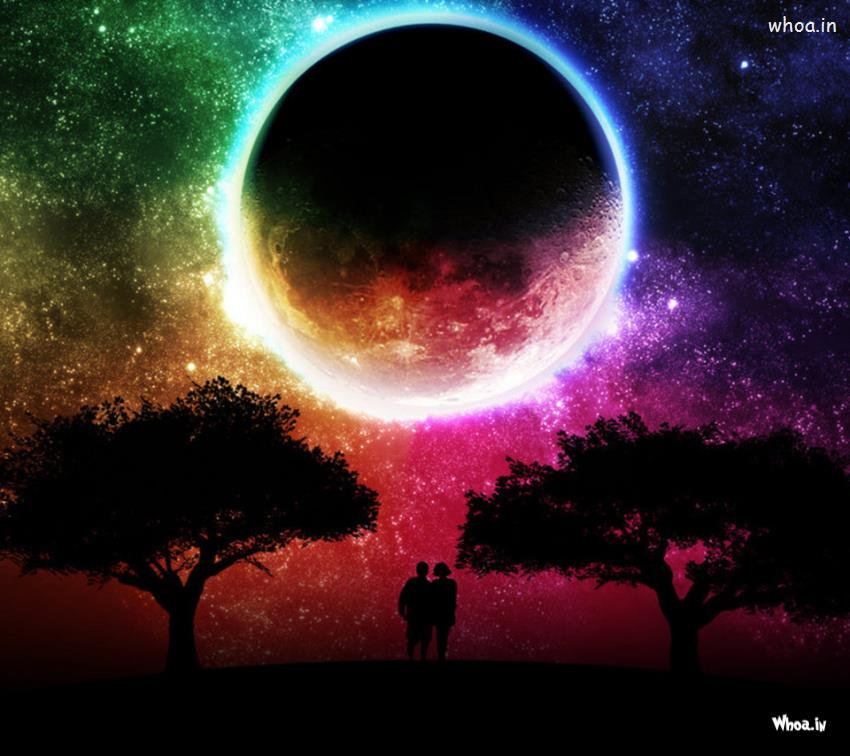 Shivaji 3d Wallpapers Love Couple With Moon Hd Wallpaper For Mobile