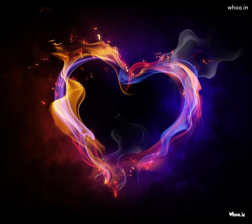 Hearts With Quotes Wallpapers Purple Fire Heart Hd Wallpaper