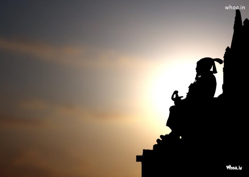 Shivaji Raje 3d Wallpaper Shivaji Maharaj Statue With Sunset Hd Wallpaper