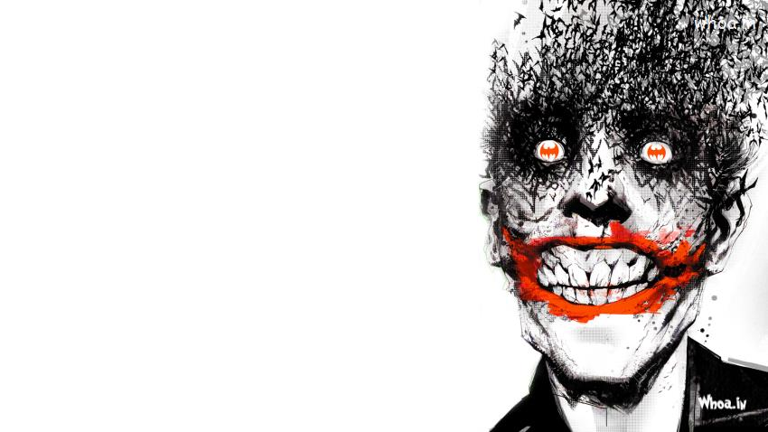 Cinema Wallpapers With Quotes The Joker Hand Painting With Batman Logo Hd Wallpaper