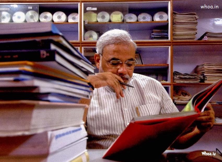 Happy Diwali Hd Wallpaper With Quotes Narendra Modi Reading Book Hd Photo And Hd Wallpaper