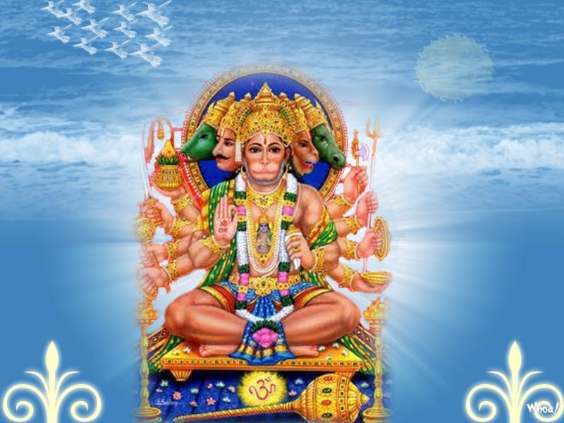 Panchmukhi Ganesh Wallpaper Hd God Shree Hanuman Blue Background Photo
