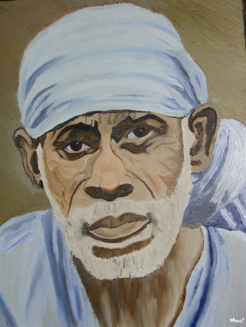 Sai Baba 3d Wallpaper Saibaba Art Painting Photo Wallpaper