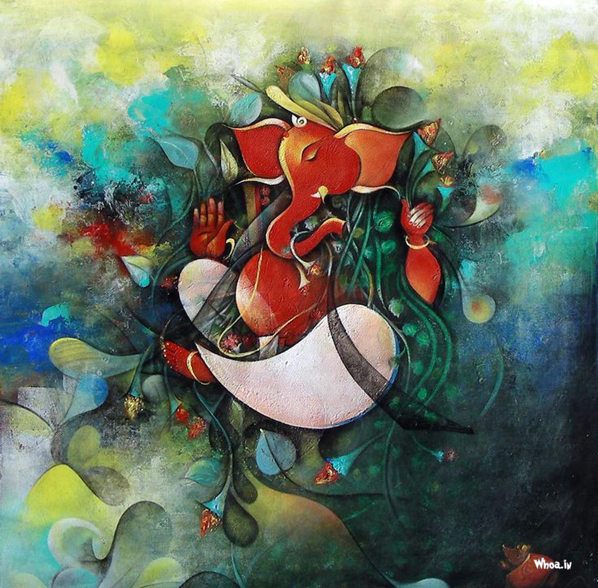 Lord ganesha multi color painting hd image share this page wow 706 download