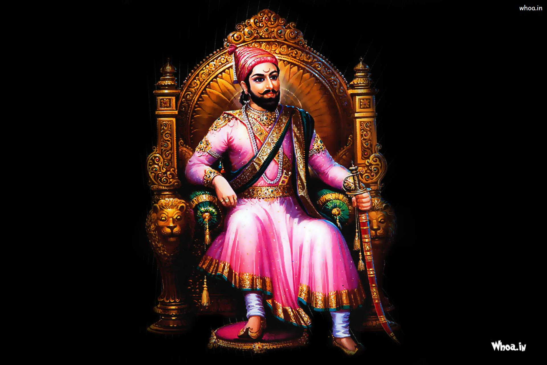 maharaja shivaji sitting wirh dark background painting hd wallpaper