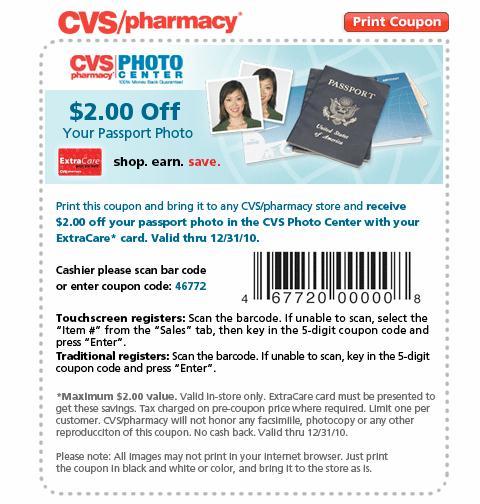 cvs passport photo coupon