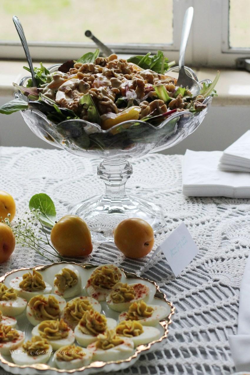 Plum, Red Onion & Walnut Salad with Vinaigrette