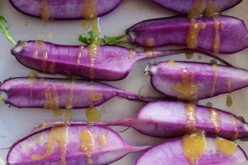 Roasted Purple Daikon Radishes