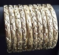 Gold Layered Diamond Cut Bangle Bracelets 6MM (1 Dozen)