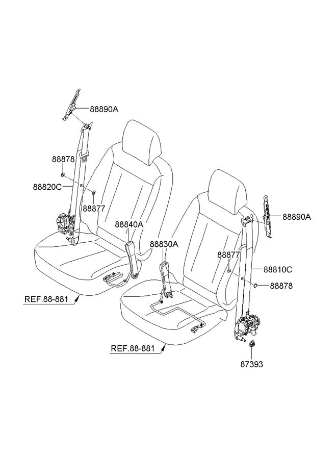 hyundai seat belt diagram