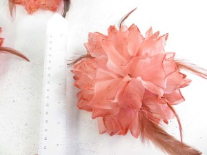 Light Orange Red Color Flower Corsage With Glitter Edging