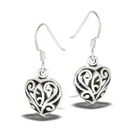 Sterling Silver Classic Filigree Heart Dangle Earring