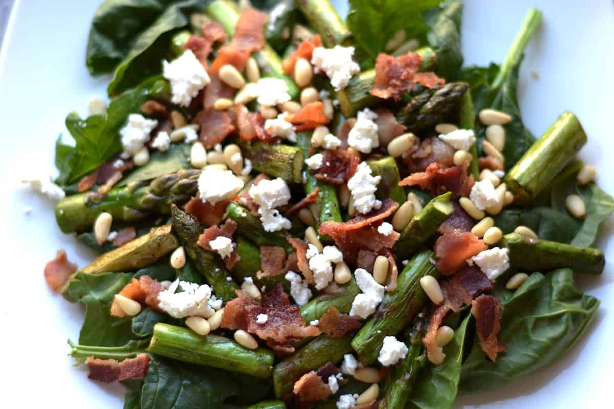 Asparagus and Spinach Salad with Warm Bacon Dressing ...