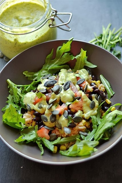 Black Bean and Rice Bowls with Creamy Avocado Sauce - Wholesomelicious