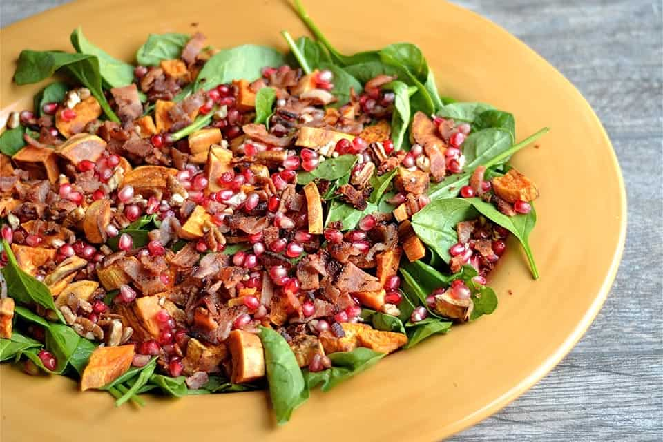 Warm Spinach Salad With Smoky Pecans And Sweet Potato Recipes ...