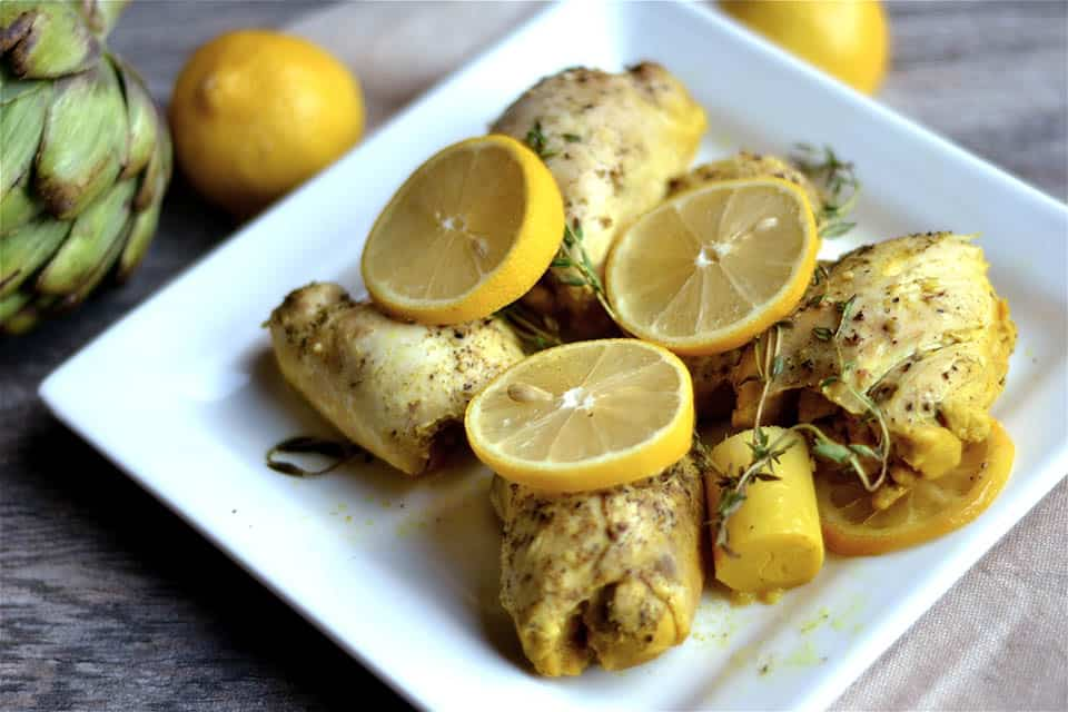Slow Cooker Lemon Artichoke Chicken - Wholesomelicious